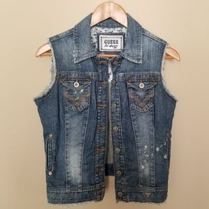 Guess Distressed Denim Vest Eagle Mediu.